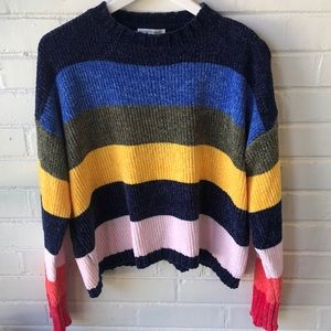 Woven Heart Rainbow colored Sweater